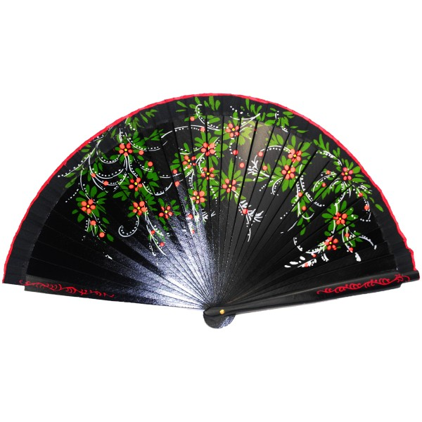 Wooden Fan with Flower Decor 2 - 23 cm