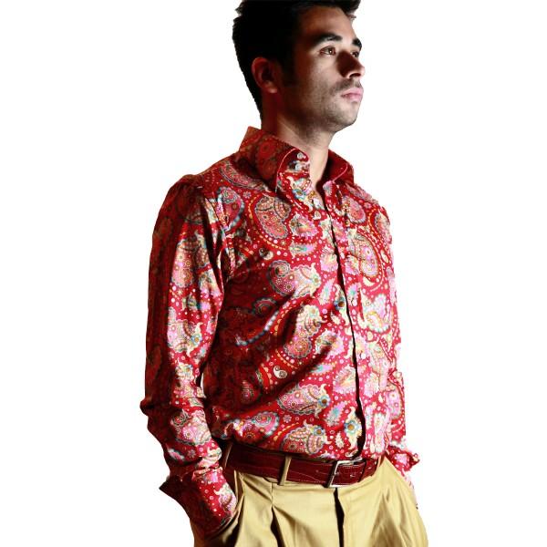 Herren Hemd Paisley Rot